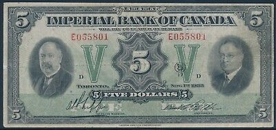 Imperial Bank Of Canada $5 1933 #375-20-02 Vf+ Cv $600 Bu739