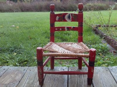 Vintage MEXICAN CHILDS WOODEN WOVE RUSH CHAIR Hand Painted Wood Mexico Folk Art
