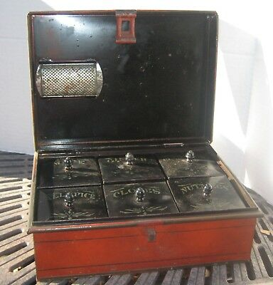 1890's Antique Kreamer #2 Tin Spice Box - Complete with Nutmeg Grater