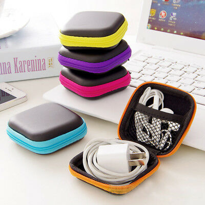 Zip Carrying Storage Bag Pouch Hard Case For Earphone Headphone Earbud