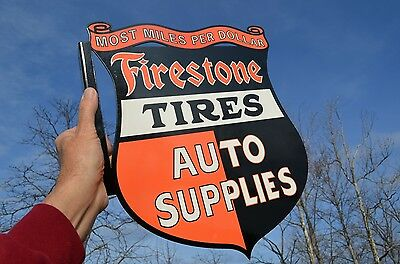 "Old Style Firestone Tires Car Truck Auto Parts Shield Dicut Sign ""made In Usa"""