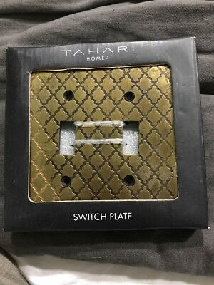 Antique Brass Wall Plate 2 Double Toggle Switch Covers by Tahari Home New in Box