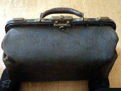 Vintage Doctor's Bag, Dark Brown, Genuine Seal