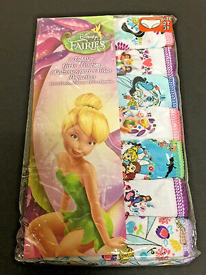 Disney Fairies Girls Panties~Underwear~Underpants 7 Pair, Size 2T/3T~New in Pk