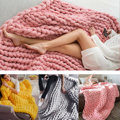 6 Colors Large Warm Chunky Knit Blanket Thick Yarn Wool Bulky Sofa Knitted Throw