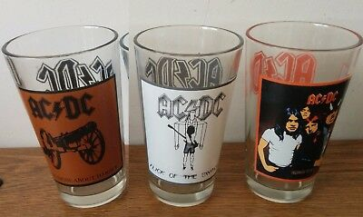 AC DC beer pint glasses 3 NICE collectors item Highway to Hell Who Made Flick