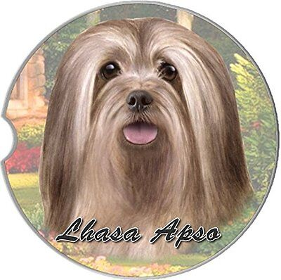Lhasa Apso Car Coaster Absorbent Keep Cup Holder Dry Stoneware New Dog