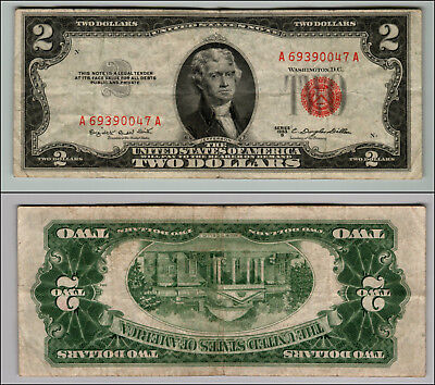 1953B $2 Dollar Bill Us Note Legal Tender Paper Money Currency Red Seal J303