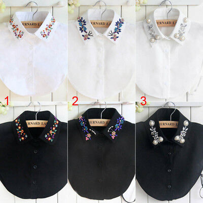 Women False Collar Choker Blouse Peter Pan Detachable Lapel Shirt Fake Collar
