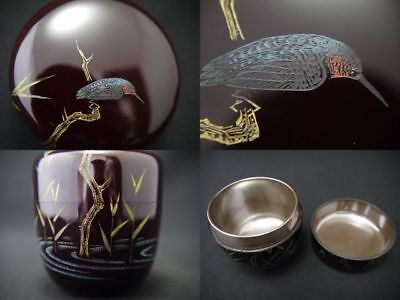 Japanese Lacquer Wooden Tea Caddy Chinkin a KINGFISHER makie Chu-Natsume (1107)