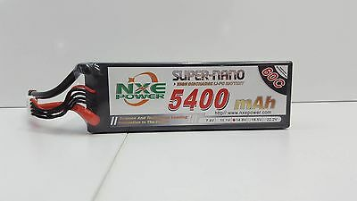 NXE Super-Nano 5400mah 60c 4s 14.8v Hard Case 4 Cell Lipo Battery W/Deans OZRC