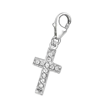 925 Sterling Silver -  'Cross with Clear CZ '  - Clip On Charm fit link bracelet