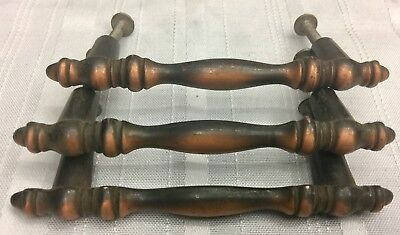 """Set Of 3 Unique Vintage Copper Plated White Metal Drawer Cabinet Pulls - 4 1/4"""""""