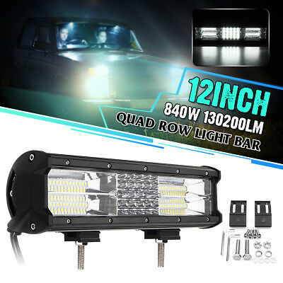 12 Inch LED Quad-Row Work Light Bar Flood Spot Driving Lamp Truck 4WD Off-Road