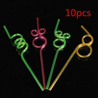 10 PCS Colorful PVC Reusable Modeling Curly Loop Drinking Straws Party Supplies
