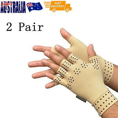 2 Pair Arthritis Gloves Compression Support Hand Wrist Pain Relief Magnetic