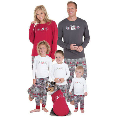Christmas Family Womens Kids Sleepwear Nightwear Matching Pajamas Set Pyjamas US