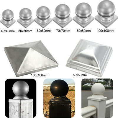 8 Types Iron Silver Pyramid Square Epoxy Metal Fence Gate Post Caps Ball Top