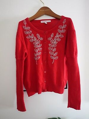 ONE RED FLY Girls Christmas Beaded Cardigan Size 8 in VGC