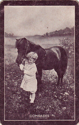 1 Playing Swap Card Rare Brown  Usnn Horse Pony & Little Boy Named Comrades