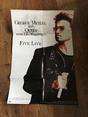 ❤️RARE❤️HAND SIGNED POSTER❣️Five Live❣️George Michael (WHAM!/Queen)