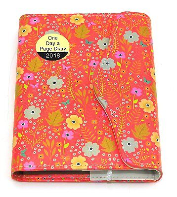 2018 Diary Day A Page Appointment Organiser Planner A6 Red Floral Flowers (2007)
