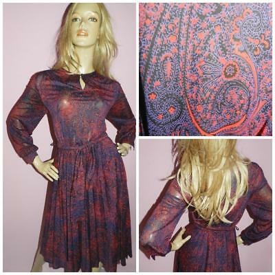 VINTAGE 70s NAVY RED SEMI SHEER PAISLEY PRINT ACCORDION DAY DRESS 12 M 1970s