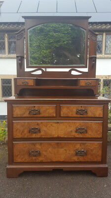 A Stunning Art Nouveau Mahogany & Walnut Dressing Table/Chest with 6 Drawers