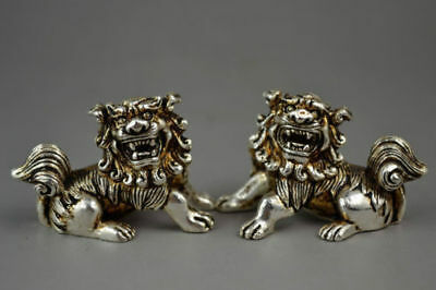Rare Handwork Miao Silver Carved Exorcism Kylin Statue 2 pcs