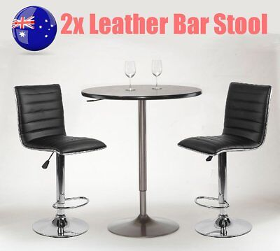 2x Bar Stool Kitchen Dining Chair Barstool Leather Chrome Gas Lift Black 95-106