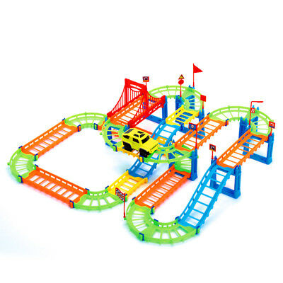 74PCS 3D Spiral Track Roller Coaster Toy Electric Rail Car for Kids Gift