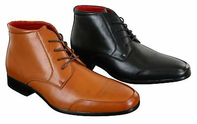 Mens Laced Chelsea Dealer Ankle Boots Tan Brown Black Smart Casual Leather