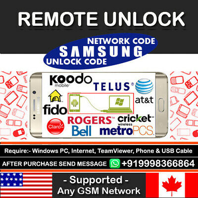 Remote Unlock Code Samsung Galaxy S2 S3 S4 S5 S6 Note 1 2 3 4 T-Mobile At&t USA