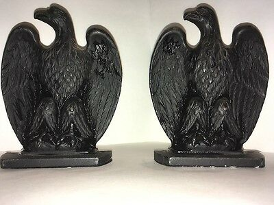 Antique Cast Iron American Eagle Book Ends