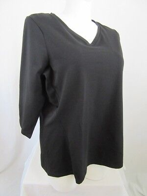 Denim & Co Essentials 2X Black V-Neck 3/4 Sleeve Top w/ Seaming Detail