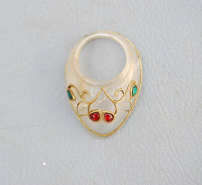 Vintage Indo Persian Mughal Islamic Jewelled Crystal Archer Thumb Ring Arrow Bow