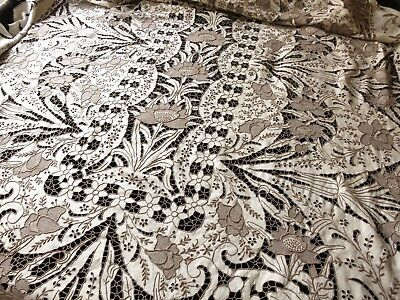 EXQUISITE Antique Madeira Hand Embroidery DENSE CUTWORK Linen Tablecloth 64x120