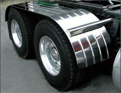 """120"""" Tandem Semi Truck Fenders Ribbed Stainless Steel with Mounting Kit 1 Pair"""