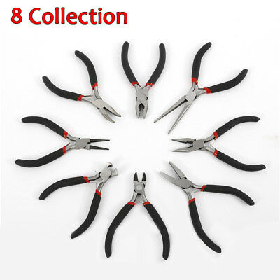 1/8pcs Jewellery Making Beading Mini Pliers Tools Kit Set Round Flat Long Nose