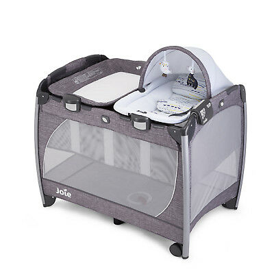 Joie Khloe & Bert Grey Excursion Change & Rock Travel Cot With Changer & Rocker