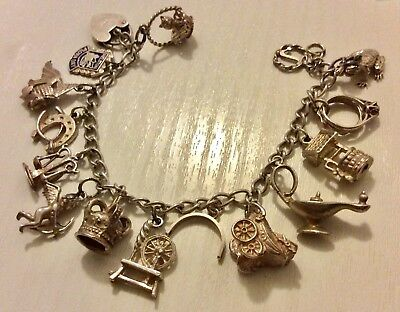Superb Ladies Early Vintage Solid Silver Lovely Heavy Silver Charm Bracelet Nice