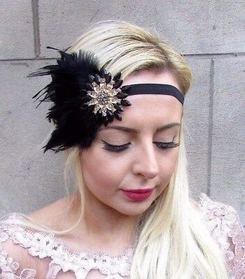 Black Gold Feather Headpiece 1920s Headband Flapper Fascinator Great Gatsby 4680