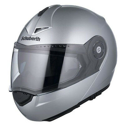 Schuberth C3 Pro Gloss Silver Flip Front Up Touring Motorbike Motorcycle Helmet