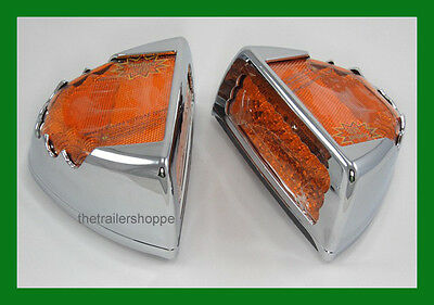 Amber Spyder Truck Semi Turn Signal Marker Light Peterbilt 47 LED Chrome Cover