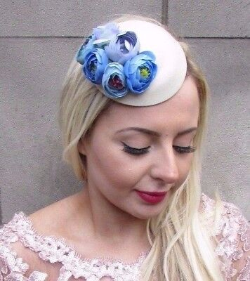 Small Lilac Blue Cream Rose Flower Pillbox Hat Fascinator Hair Clip Races 4685