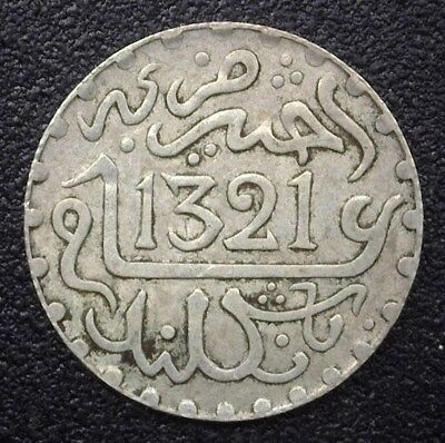 Morocco 1904 Silver 1/2 Rial Y#18.1  About Uncirculated