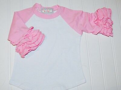IN STOCK, Ready to Ship! Girls Pink Ruffle Raglan Shirt, Toddler Ruffle Raglan