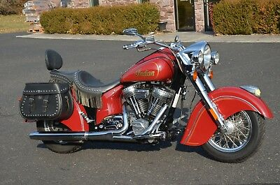 """2003 Indian Chief  2003 Red Indian Motorcycle Company Gilroy 100"""" PowerPlus Chief Corbin Seat 18k"""