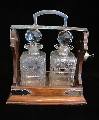Antique English Tantalus With 2 Crystal Decanters With Key