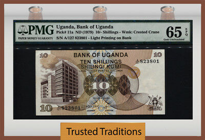 TT PK 11a UGANDA 10/- SHILLINGS PMG 65 EPQ GEM UNCIRCULATED POP TWO NONE FINER!